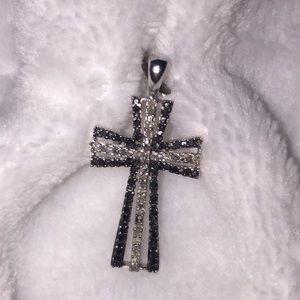 Black and White Diamond Cross Pendant.